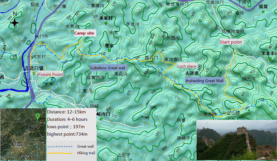 Jinshanling Great wall hiking map