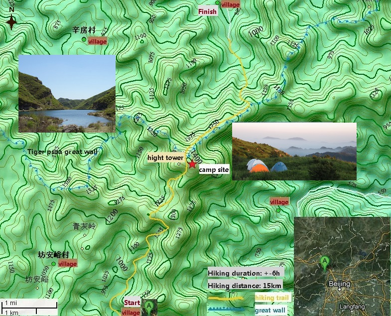 long valley castle Great wall camping 2 days map