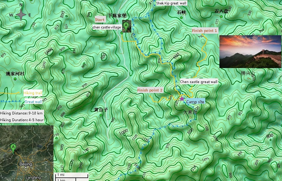 Chen castle Great wall camping 2 days Map