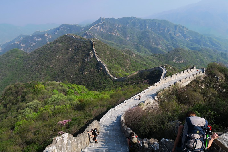 hiking down on suset great wall