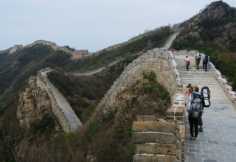 Hiking towards our camping spot on the restored Great Wall
