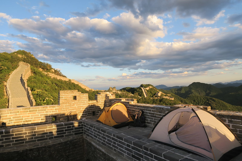 Great Wall camping in style. Pitching our tents on the Great Wall of China