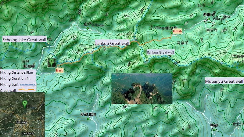 jiankou Great wall hiking map