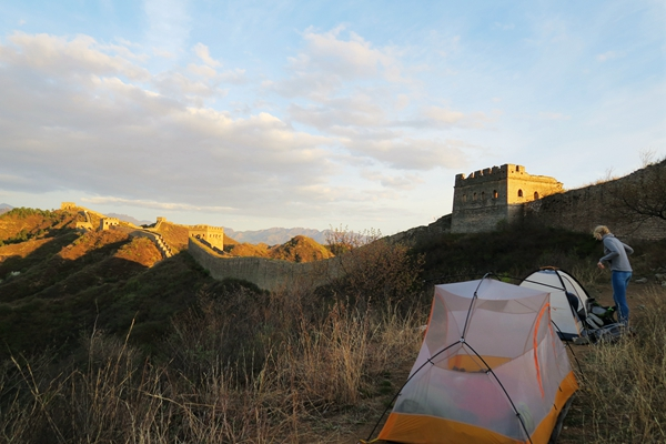 Our fabulous camping spot at Wild Jinshanling Great Wall