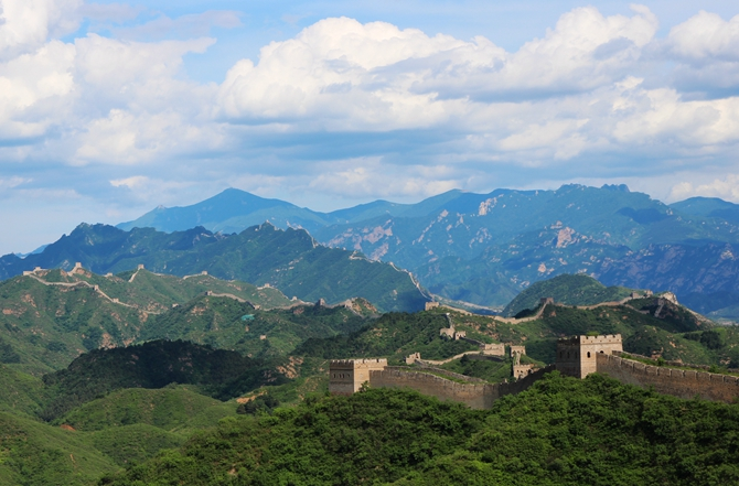 View of the Simatai & Jinshanling Great Wall from  the General tower at Gubeikou Great Wall
